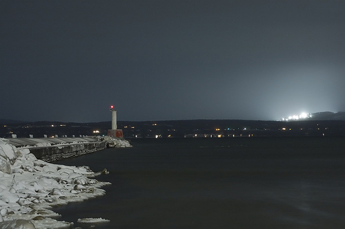 Little Traverse Bay and Nubs Nob in lights